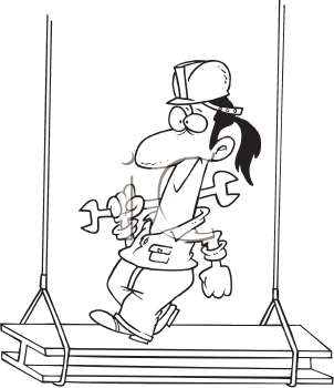 Royalty Free Clipart Image of a Man on a Girder