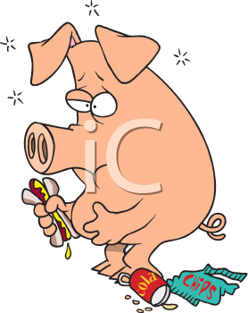 Royalty Free Clipart Image of a Full Pig