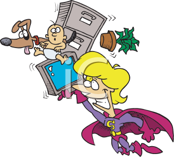 Royalty Free Clipart Image of Superwoman