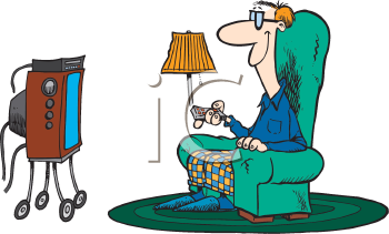Royalty Free Clipart Image of a Man Watching Television