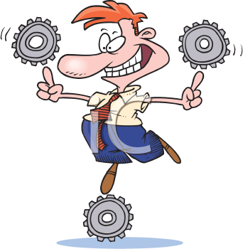 Royalty Free Clipart Image of a Man Balancing Cogs