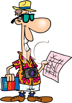 Royalty Free Clipart Image of a Tourist With a Map