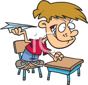 Royalty Free Clipart Image of a Child Standing on a Chair Getting Ready to Fly a Paper Airplane