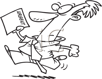 Royalty Free Clipart Image of a Man Running With a Piece of Paper