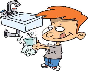 Royalty Free Clipart Image of a Boy Washing His Hands