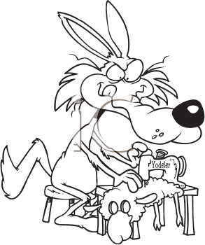 Royalty Free Clipart Image of a Wolf Sewing a Sheep Suit