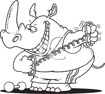 Royalty Free Clipart Image of an Exercising Rhino