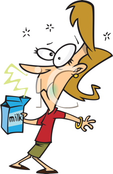 Royalty Free Clipart Image of a Woman Smelling Sour Milk