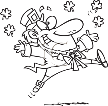Royalty Free Clipart Image of a Jumping Leprechaun