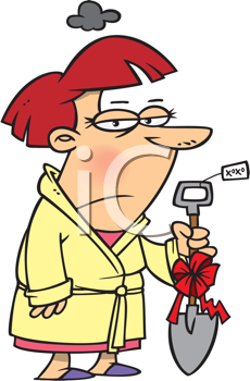 Royalty Free Clipart Image of a Woman Holding a Really Bad Christmas Gift
