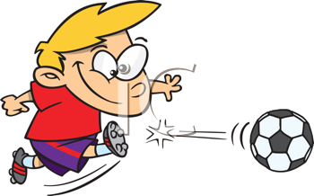 Royalty Free Clipart Image of a Child Kicking a Soccer Ball