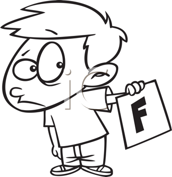Royalty Free Clipart Image of a Little Boy With an F on His Report Card