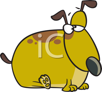Royalty Free Clipart Image of a Fat Pup