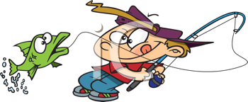 Royalty Free Clipart Image of a Kid Catching a Fish