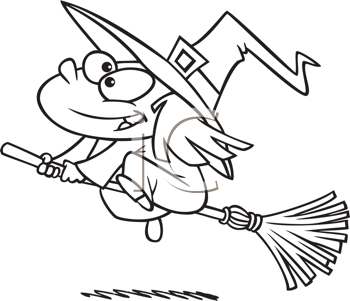 Royalty Free Clipart Image of a Girl Witch on a Broomstick