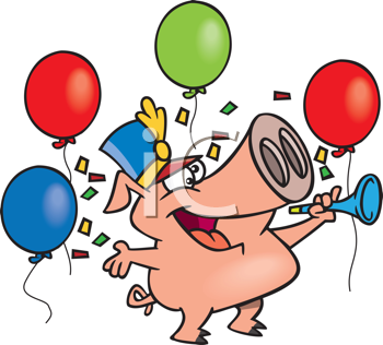 Royalty Free Clipart Image of a Pig With Balloons