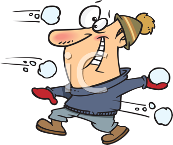 Royalty Free Clipart Image of a Guy in a Snowball Fight