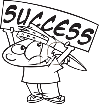Royalty Free Clipart Image of a Little Boy Holding a Success Sign
