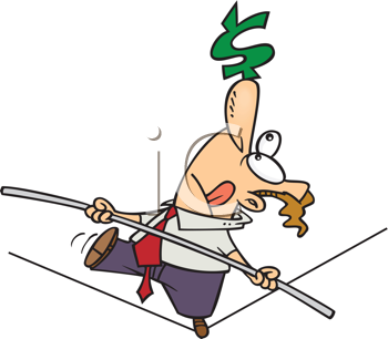Royalty Free Clipart Image of a Man Walking on a Tightrope