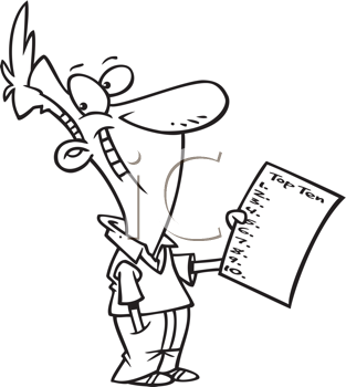 Royalty Free Clipart Image of a Guy With a Top Ten List