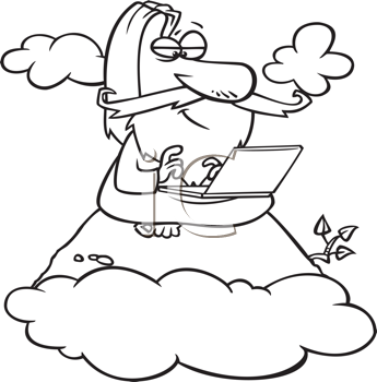 Royalty Free Clipart Image of a Guy With a Laptop on a Mountain