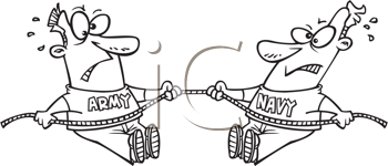 Royalty Free Clipart Image of an Army and Navy Tug of War