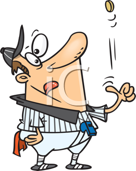 Royalty Free Clipart Image of an Umpire Tossing a Coin