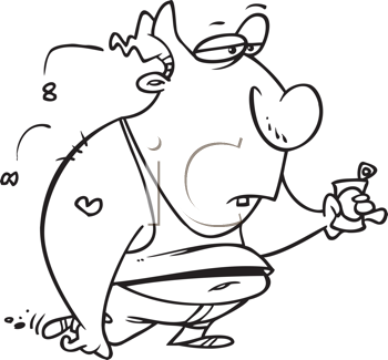 Royalty Free Clipart Image of a Slovenly Guy With a Beer Can