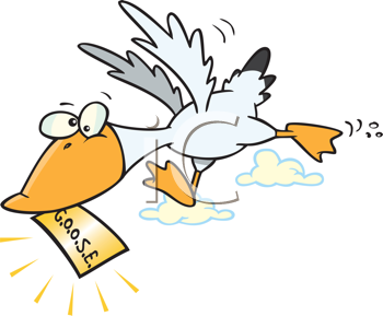 Royalty Free Clipart Image of a Goose With a paper With Goose on It