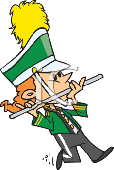 Royalty Free Clipart Image of a Marching Flute Player