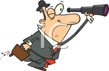 Royalty Free Clipart Image of a Man Looking Through a Telescope