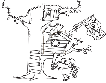 Royalty Free Clipart Image of a Child Playing Pirate in a Treehouse