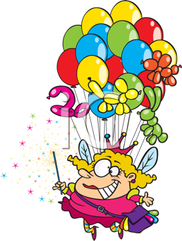 Royalty Free Clipart Image of a Fairy With Balloons