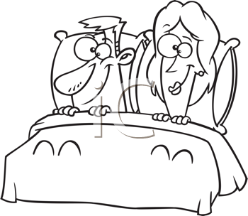 Royalty Free Clipart Image of a Couple in Bed