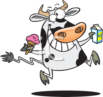 Royalty Free Clipart Image of a Cow With an Ice Cream Cone and Milk