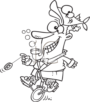 Royalty Free Clipart Image of an Eccentric Guy on a Unicycle