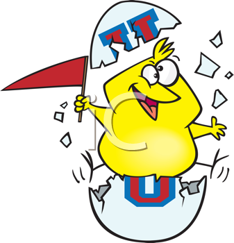 Royalty Free Clipart Image of a Bird Hatching Out of an Egg With University Letters
