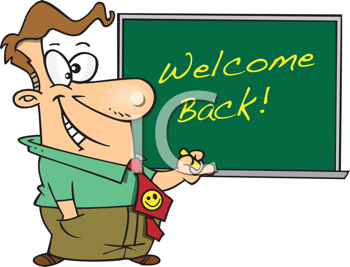Royalty Free Clipart Image of a Teacher With a Welcome Back Message