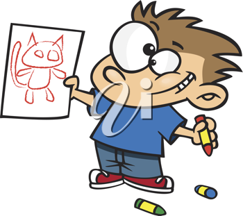 Royalty Free Clipart Image of a Little Boy With a Drawing of a Cat