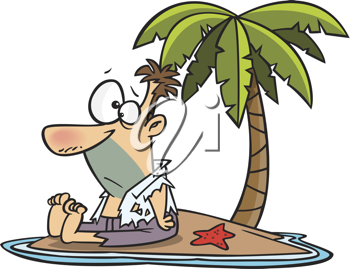 Royalty Free Clipart Image of a Man on a Deserted Island