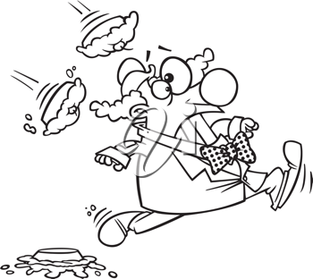 Royalty Free Clipart Image of a Clown Running From Pies