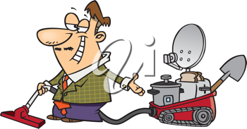 Royalty Free Clipart Image of a Man With a Multi Purpose Machine
