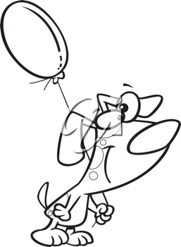 Royalty Free Clipart Image of a Dog Holding a Balloon