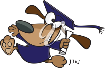 Royalty Free Clipart Image of a Dog Graduating