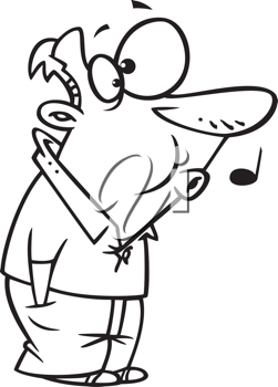 Royalty Free Clipart Image of a Man Whistling