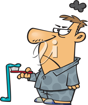Royalty Free Clipart Image of a Man Upset Over a Toothpaste Mess
