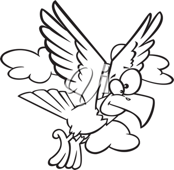 Royalty Free Clipart Image of an Eaglet Flying
