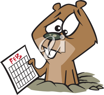 Royalty Free Clipart Image of a Groundhog Holding a Calendar