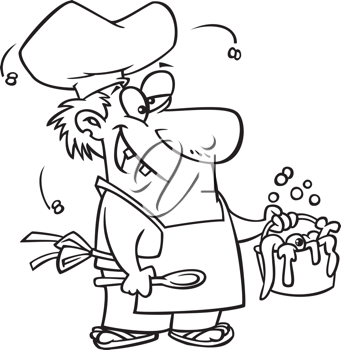 Royalty Free Clipart Image of a Man Serving Bugs