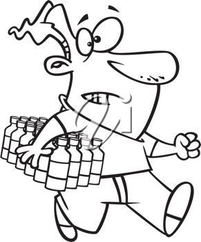 Royalty Free Clipart Image of a Man Carrying a Case of Water